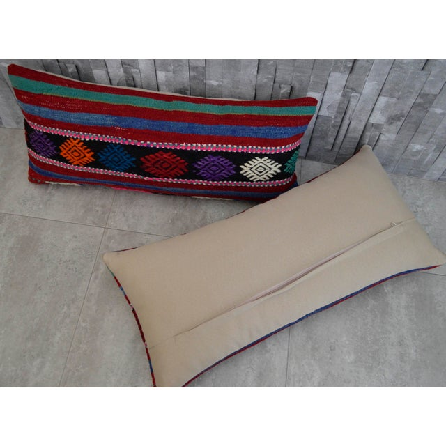 Vintage Turkish Kilim Lumbar Pillow Covers - A Pair For Sale - Image 5 of 6