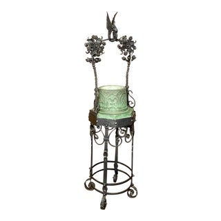 19th Century Wrought Iron and Stone Jardiniere ~ Garden Planter For Sale