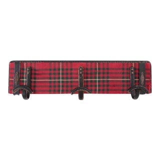 Fully Original Jacques Adnet Coat Hanger in Leather and Tartan Plaid Wool For Sale