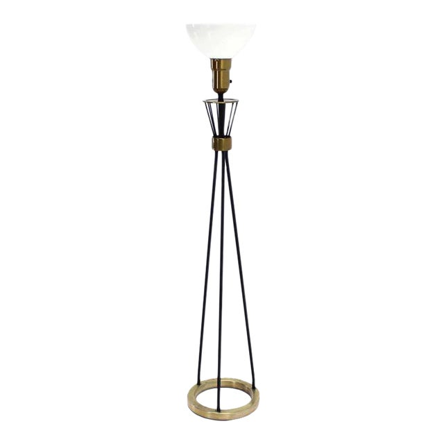 Round Brass Base Iron Spokes Mid-Century Floor Lamp For Sale