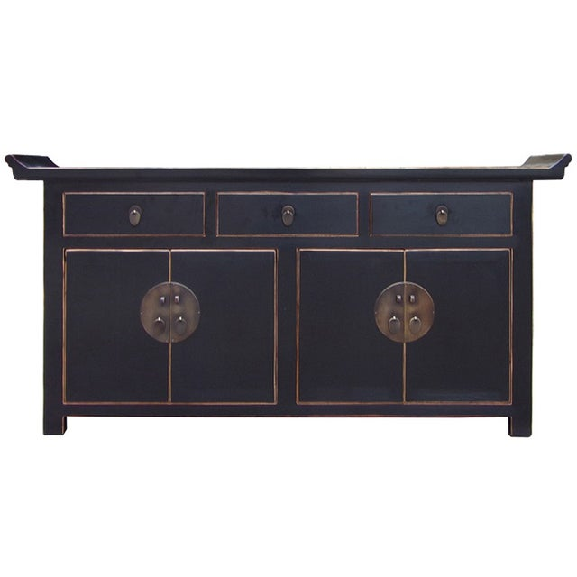 Black Lacquer Moon Face Credenza - Image 1 of 5