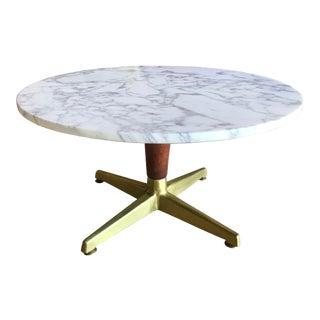 Vintage Mid Century Round Italian Statuario Marble Walnut and Brass Pedestal Coffee Table For Sale