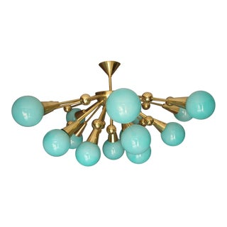Half Sputnik Turquoise Blue Murano Glass Globes Chandelier For Sale