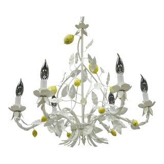 White Yellow Lemon Chandelier Italian Hollywood Regency Chic Tole Metal Toleware