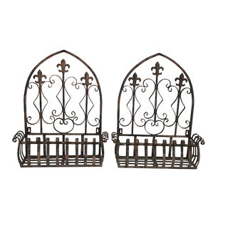 French Fleur De Lys Wrought Iron Wall Planters , a Pair