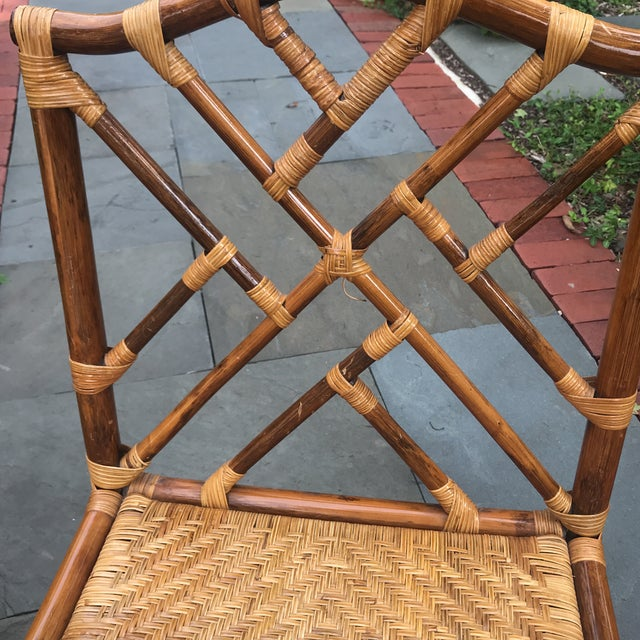 Bamboo 1960s Traditional Bamboo and Rattan Chairs - Set of 4 For Sale - Image 7 of 11