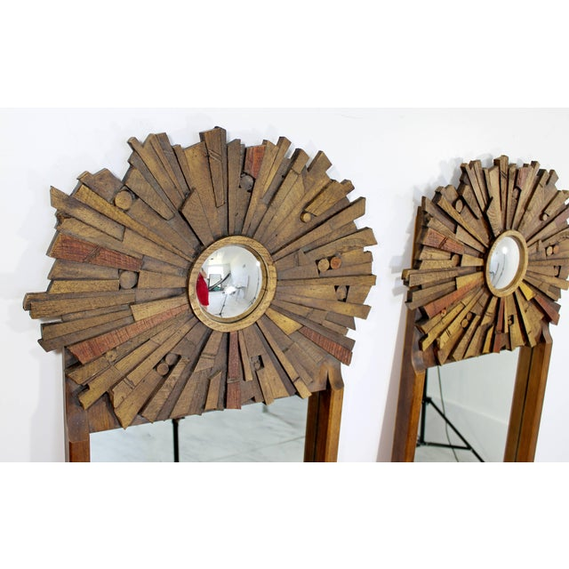 Glass Mid-Century Modern Pair of Lane Brutalist Wood Mirrors for Mosaic Line Evans Era For Sale - Image 7 of 11