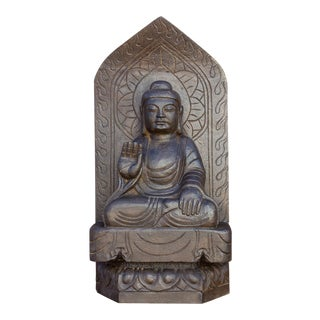 Carved Antique Black Stone Buddha Statue For Sale