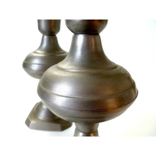 Vintage Pewter Turned Candlesticks - a Pair Preview