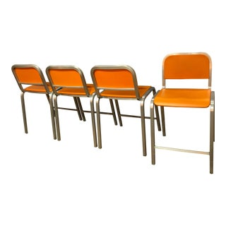 DWR Sottsass Orange Counter Stools - Set of 4 For Sale