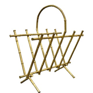 Vintage Italian Hollywood Regency Gold Gilt Metal Faux Bamboo Magazine Rack