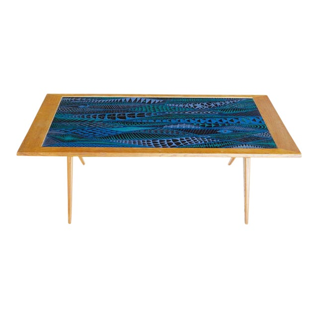 1955 Stig Lindberg & David Rosen Enamel Coffee Table For Sale