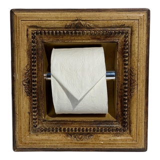 Italian Baroque Style Bathroom Paper Holder in Ochre & Walnut by Judson Rothschild for The Rothschild Collection For Sale