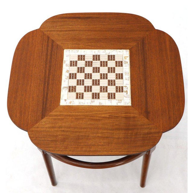 Pair of Clover Shape Tile and Walnut Top Round End Side Occasional Tables For Sale - Image 11 of 13