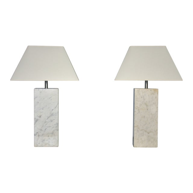 Nessen Marble Lamps - A Pair For Sale