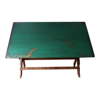 Antique Primitive Green Patina Top Drafting Table/ Desk