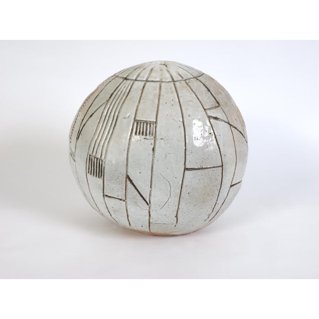 Large Heavy Art Pottery Spherical Vase For Sale In New York - Image 6 of 9