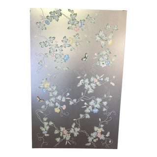 Framed Gracie Silver Wallpaper Panel For Sale