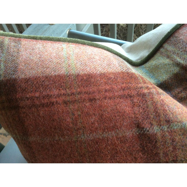 Lodge Zoffany Woodford Orange Plaid Wool & Down Pillow For Sale - Image 3 of 3