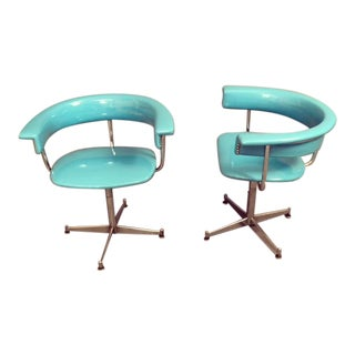 1970s Mid-Century Modern Pair Swivel Chrome & Vinyl Chairs