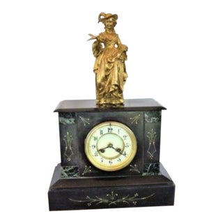 Antique French Victorian Mantle Clock Bell Strike For Sale