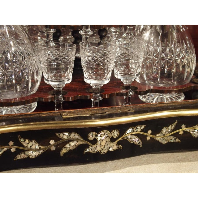 Circa 1850 Napoleon III Cave a Liqueur With Mother of Pearl, Rosewood, and Brass Inlay For Sale - Image 9 of 13