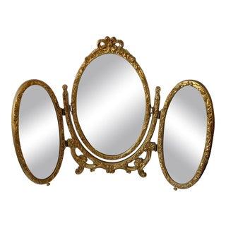 Vintage 1980s Table Top Three Panel Vanity Mirror For Sale