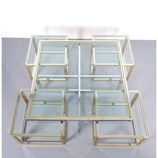 1970s Square Segment Bicolor Brass Glass Coffee Table by Maison Charles, France 1975 For Sale - Image 5 of 13