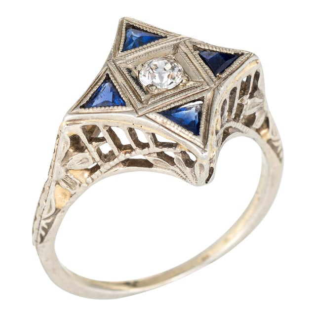 Vintage Art Deco Star Point Diamond Sapphire Ring Chairish