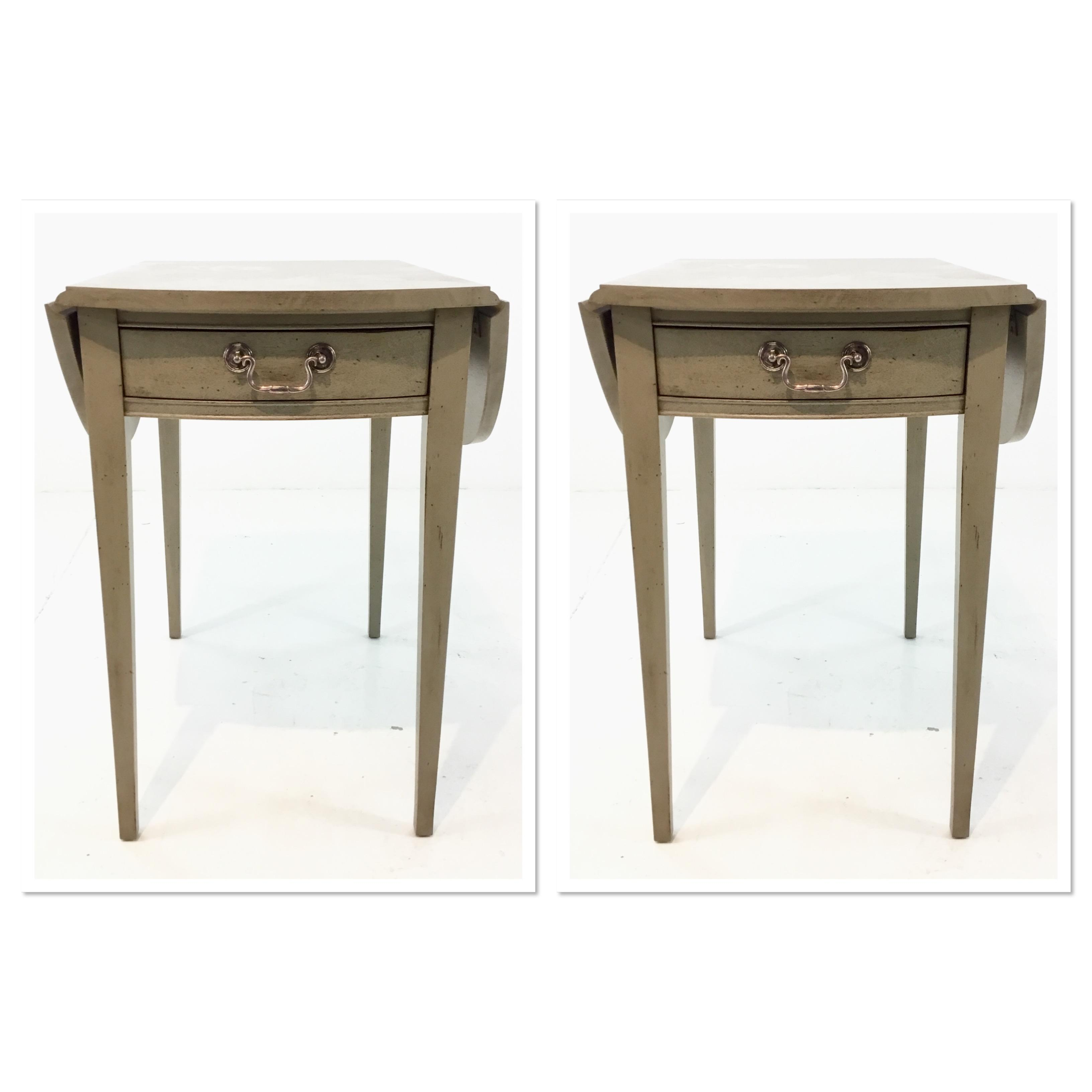 Tan Transitional Hickory Chair Pembroke Taupe Drop Leaf Side Tables Pair  For Sale   Image 8