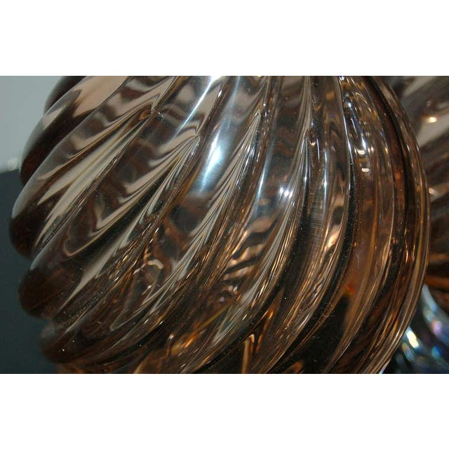 Marbro Murano Glass Table Lamps in Peach Tea For Sale - Image 9 of 10