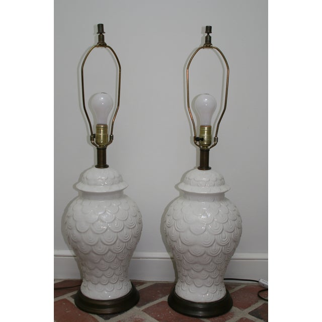 Vintage Fish Scale Table Lamps - A Pair - Image 2 of 5