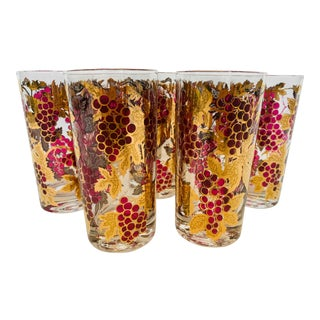 Mid-Century Signed Culver 22k Gold Leaves Glassware - Set of 8 For Sale