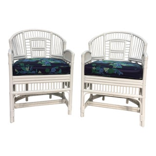 70s Brighton Style Rattan Armchairs - A Pair