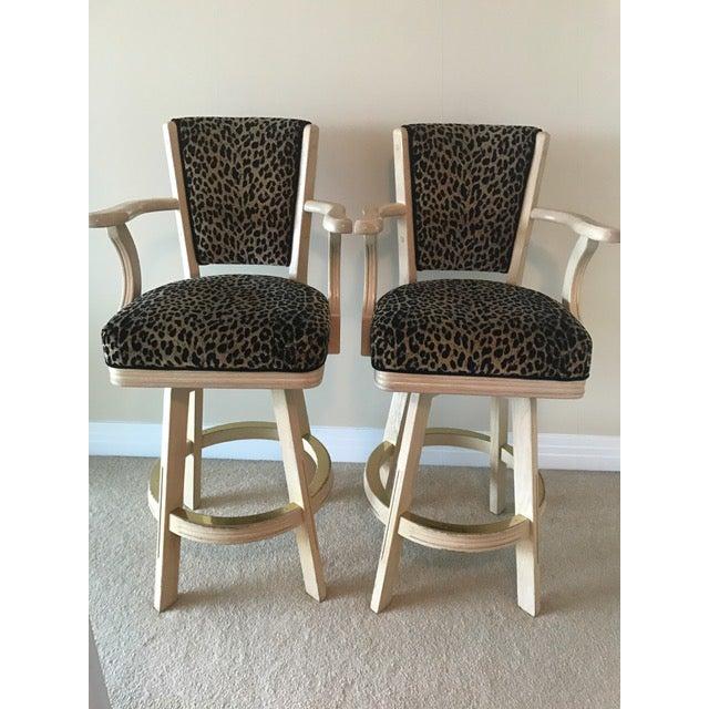 Leopard Print Swivel Bar Stools- A Pair - Image 2 of 6