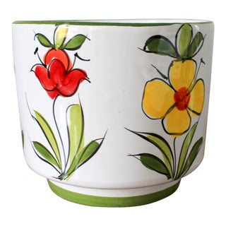 Glazed Hand Painted Ceramic Planter For Sale