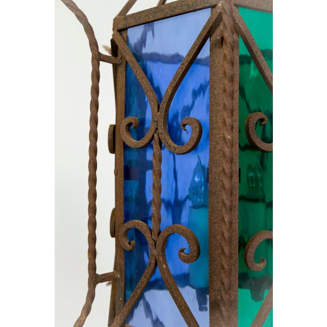 1920s Gothic Revival Lantern With Blue & Green Glass For Sale - Image 4 of 11