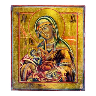 """Early 20th Century """"The Nursing Madonna"""" Russian Icon Painted Wood Panel For Sale"""