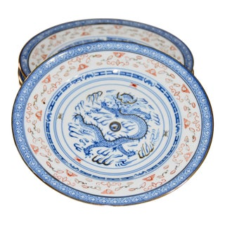 1970s Chinese Porcelain Rice Wear Dragon Gold Gilded Rim Plates - Set of 4 For Sale