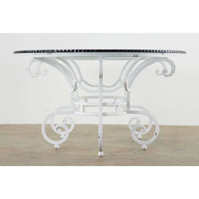 Oval Wrought Iron Painted Garden Dining Table For Sale - Image 11 of 13