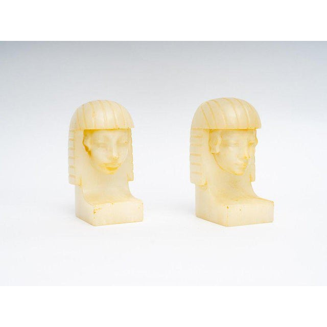 Egyptian Revival Art Deco Alabaster Bookends - a Pair For Sale - Image 4 of 11