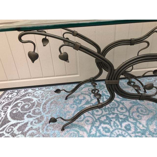 Arts and Crafts Glass Top Iron Console Table For Sale - Image 4 of 9
