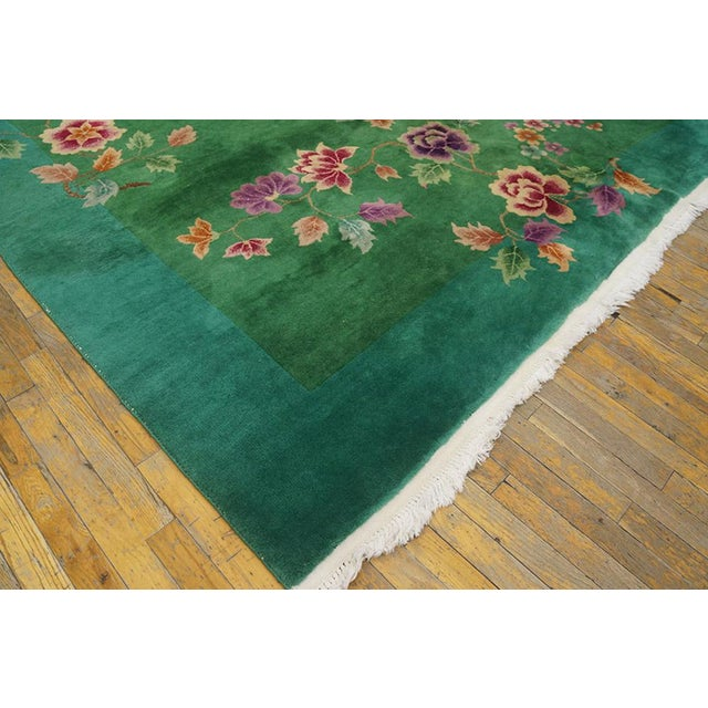 """Chinese Art Deco Green Rug - 8'8""""x11'4"""" For Sale In New York - Image 6 of 7"""