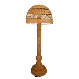 Tall Wicker Rooses Floor Lamp With Shade