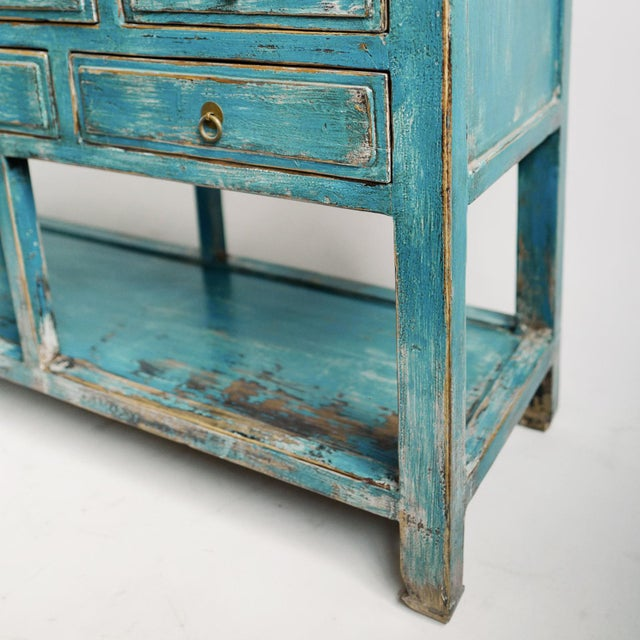 Asian Blue Distressed Drawer Console For Sale - Image 3 of 5