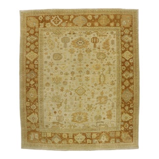 Contemporary Indian Oushak Rug - 12'03 X 14'09 For Sale
