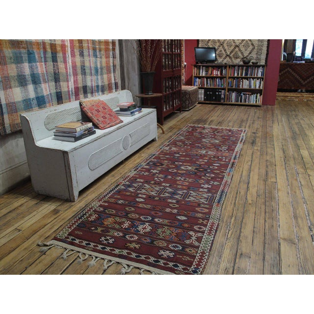 A wonderful old tribal flat-weave from Northeastern Turkey, woven in wide runner format that is common among the nomadic...