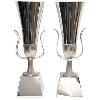 Pair of Tommi Parzinger Silver Plate Table Lamps for Lightolier For Sale