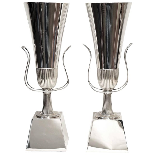 Pair of Tommi Parzinger Silver Plate Table Lamps for Lightolier - Image 1 of 5