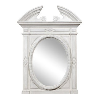 Renaissance Style 1850s Belgian Painted Oval Mirror with Broken Arch Pediment For Sale